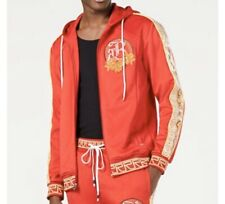 New Reason brand Apollo Hooded RED Track Jacket w pleather snake skin trim