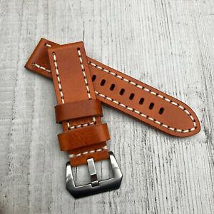 Pour panerai Pam Marina 20/22/24/26mm Épais Orange Bracelet Montre Cuir Bande