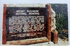 South Dakota SD Black Hills National Shrine Mt Rushmore Postcard Old Vintage PC