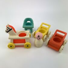 Vintage Fisher Price Little People Nursery Baby, Strollers, High Chair, Horse