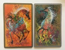 Vintage Swap Playing Cards Art Deco Horses Gorgeous Pair In Mint Con