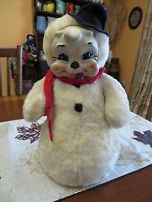 Vintage Rubber-Face Rushton Star Creation Snowman Plush Doll