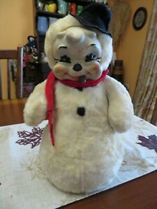 Vintage Rubber-Face Rushton Star Creation Snowman Plush Doll