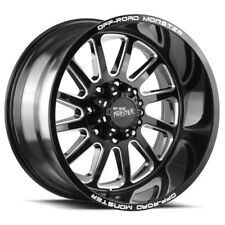 """4-NEW 20"""" Inch OffRoad Monster M17 20x10 5x5.5"""" -19mm Black/Milled Wheels Rims"""