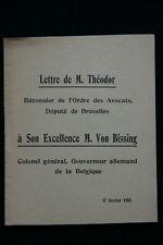 Guerre 1914-1918  JUSTICE POLICE ALLEMANDE en Belgique  Lettre à M. Von Bissing