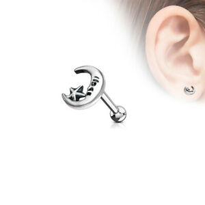"""16g 1/4"""" Antique Moon Star Look Tragus Cartilage Ear Surgical Steel Barbell #A"""