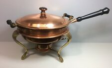Vintage 5 Piece Brass & Copper Food Warmer Chafing Chafer Fondue Buffet Dish Set