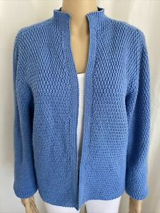Hand Knitted Blue Wool Open Cardigan Warm Winter 16-18