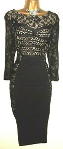 💝FABULOUS PHASE EIGHT BLACK & LACE STRETCH FITTED EVENING OCCASION DRESS UK 12