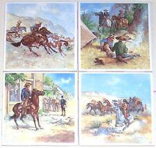 "Western Remington Horse Rider 4 of 4.25"" Kiln Fired Decor Ceramic Tiles"