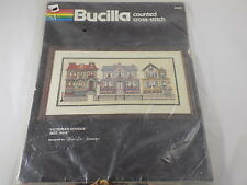 """Bucilla Counted Cross-stitch #40035 VICTORIAN HOUSES 8"""" X 16"""" floss included NIP"""