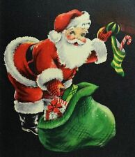 1950's Vintage Hallmark Vivid Christmas Card Santa Claus Toys Stocking  *L