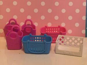 Shopkins Lot grocery shopping bag basket bin pink blue toys miniature plastic