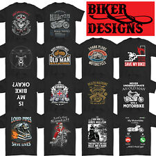 BIKER T-SHIRT Motorbike Motorcycle Cafe Racer Chopper Bike Mens Funny Skull Top