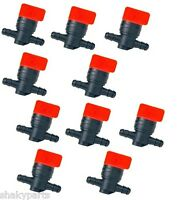 """1/4"""" In-Line Straight Fuel Gas SHUT-OFF / CUT-OFF VALVES Petcock Motorcycle 10PK"""