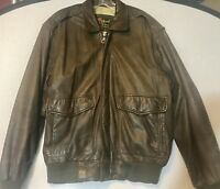 Vintage Reed Sportswear Mens Brown Leather Bomber Motorcycle Jacket Size 40r Map