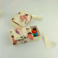 50 Pack Flower Drawer Design Candy Boxes with Tassels Wedding Favors
