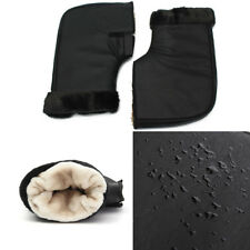 2X Winter Protection Motorcycle Hand Grip Gloves Handlebar Muffs Black Leather