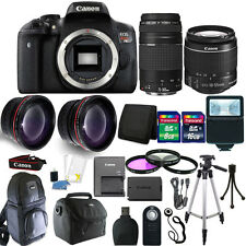 Canon EOS Rebel T6 Digital SLR Camera + 18-55mm + 75-300mm Lens + 24GB Bundle