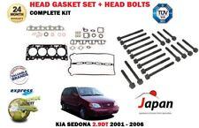 FOR KIA SEDONA 2.9DT J3 2001-2006 NEW CYLINDER HEAD GASKET SET + HEAD BOLTS KIT