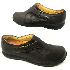 Clarks Unstructured Womens Brown Leather Slip-On Loafers Women's Size 10 M