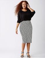 Lane Bryant Zig-Zag Jaquard Pencil Skirt Plus 28 Black/White 4x