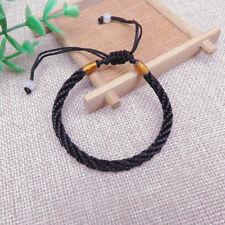 Men Women Good Luck Hand Braided Lucky Black String Rope Cord Bracelet Unisex