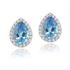 925 Silver 4.5ct London Blue Topaz & CZ Teardrop Stud Earrings