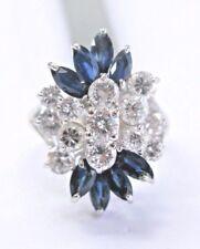 Fine Round Cut Diamond & Gem Sapphire White Gold Cluster Ring 14Kt 2.80Ct