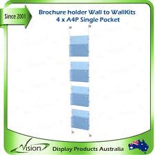 Reception Display Brochure Holder A4 Single Pockets x 4, Wall to Wall Kits