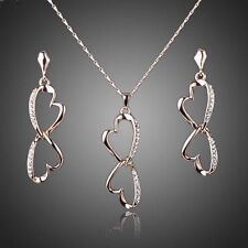 18K Rose GP Made With Swarovski Crystal Two hearts Earrings Necklace Jewelry Set