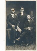 Three Men Wearing Suits Real Photo Postcard rppc
