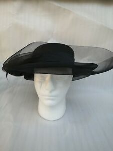Black Wide Brimmed Hat Races Wedding Theatre Amatuer Dramatics Feather Lace Vgc