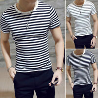 Mens Casual Striped T Shirt Top Black And White Dress Crew Neck Short Sleeves
