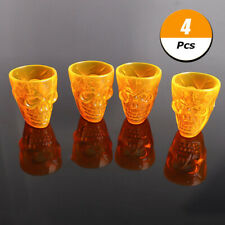 4Pcs Halloween Transparent Beer Wine Cup Bottle Glass Skull Decor Cup Wine ReZKo
