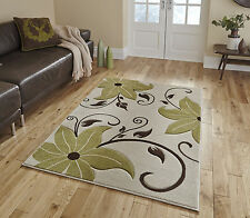 LARGE BEIGE/MINK CHOCOLATE BROWN LIME GREEN FLORAL LEAF HAND CARVED RUG 160x220