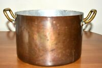 "Vintage Copper Pot Pan With Two Brass Handles 3 Quart Tin lined 8"" wide"