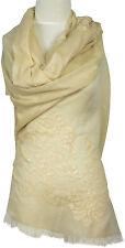 Pashmina  Schal Abend Stola  hand bestickt hand embroidered Creme Baumwolle