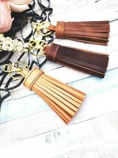 DESIGNER'S HANDMADE BEIGE BROWN GENUINE LEATHER TASSEL BAG CHARM KEYCHAIN MURKA