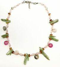 Gemstone Necklace Mix Garnet Rose Quartz Peridot Beaded Thailand Fair Trade New