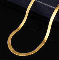 Fashion Men Women 18K Gold Plated Snake Chain Choker Necklace Jewelry 20-24 Inch