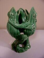 Vintage ~ 3 Dancing & Singing Green Frogs Ceramic Art Vase Figurine - HTF