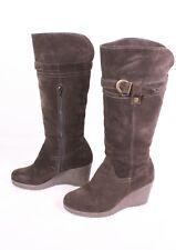 14S Janet D. Damen Stiefel Boots Velours Leder braun Gr. 38 Keilabsatz Wedge