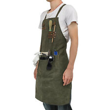 Waterproof Leather Waxed Canvas Tool Apron Heavy Duty Work Garden BBQ Cooking UK