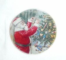 """Wonderful Santa Decorating Christmas Tree Mother of Pearl Shank Button 1+3/8"""""""