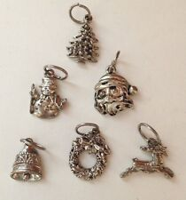 ESTATE Vintage Lot of 6 Christmas Theme Charms Silver color Mini ornaments?