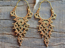 New Pair Spiral Brass Earring Hoop Gypsy Tribal Jewelry Women Gold Large Vintage
