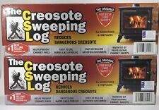 TWO (2) CREOSOTE SWEEPING LOGS - Treats and Cleans Build-up Fireplaces & Stoves