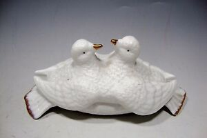 """Two White Doves Love Birds Porcelain Bisque Small Trinket Box - 5""""L"""