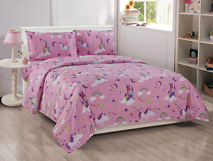 Better Home Style Pink Girls/Kids 3 Piece Sheet Set with Unicorns Castles and Ra